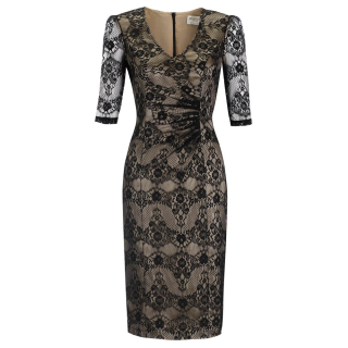 The Pavlova Dress in Black Lace and Champagne