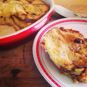 Panettone Bread Pudding with Rum Custard from The Great Christmas Knit Off by Alexandra Brown